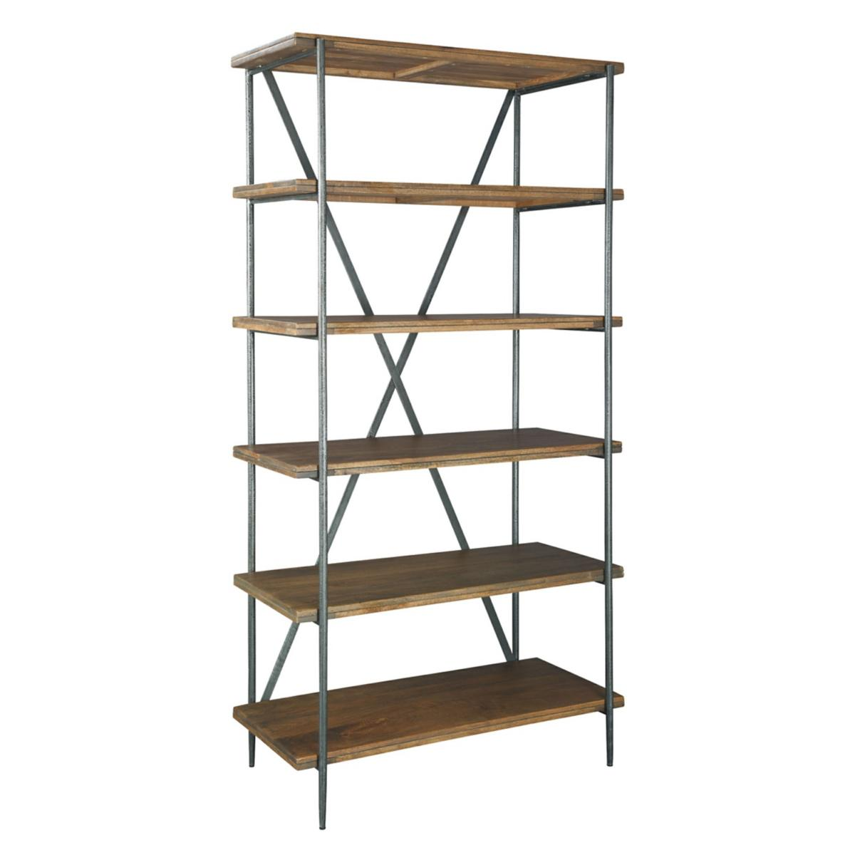Mango Wood Bookcase with Metal Accents