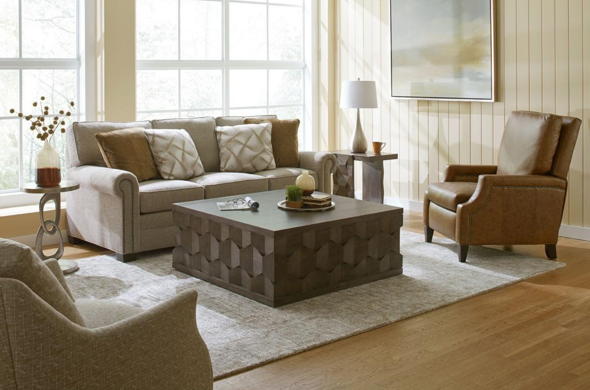 Modern Living Room with Sofa and Square Coffee Table