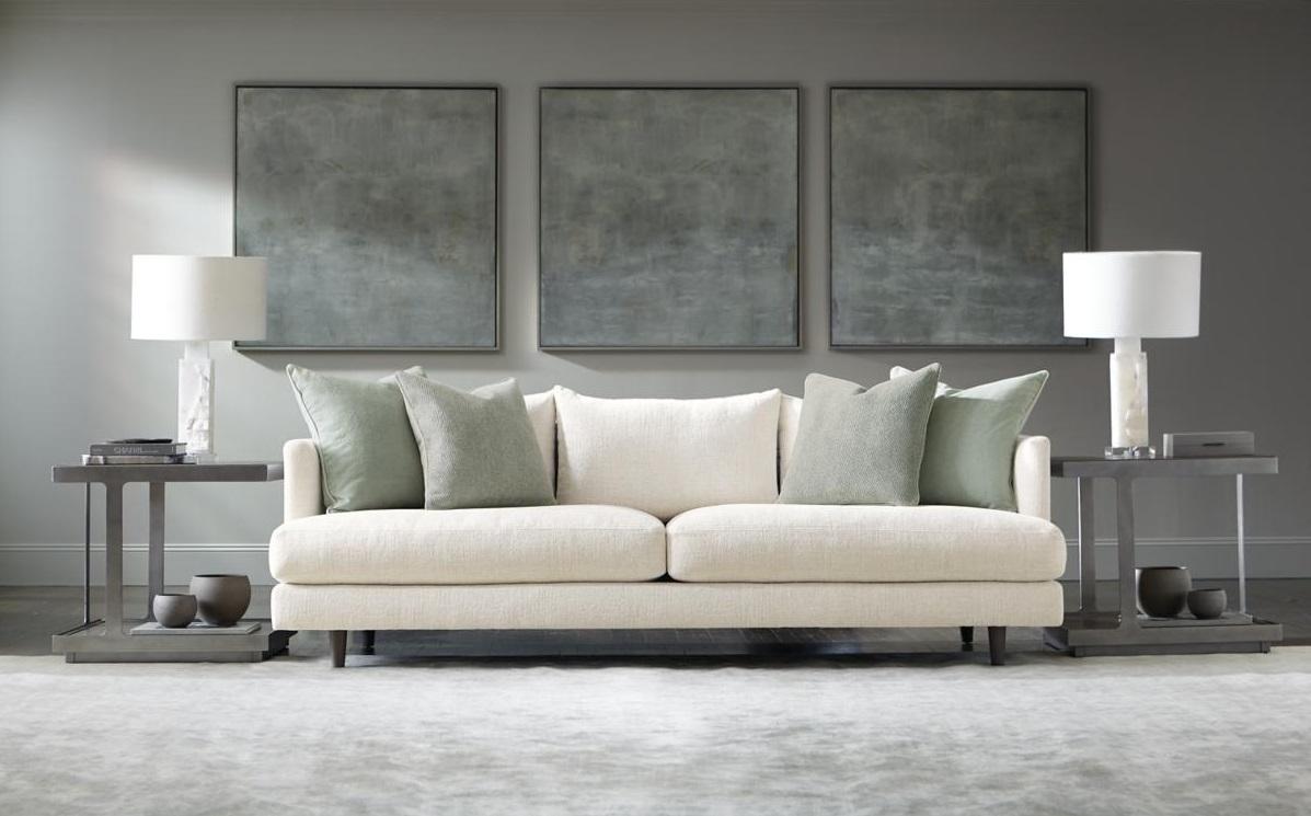 White Mid-Century Modern Sofa in Modern Living Room