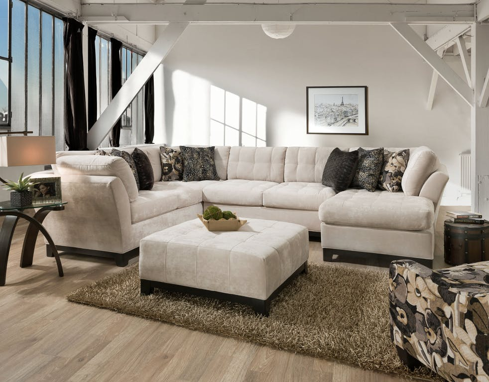 White Chaise Sectional For Sale