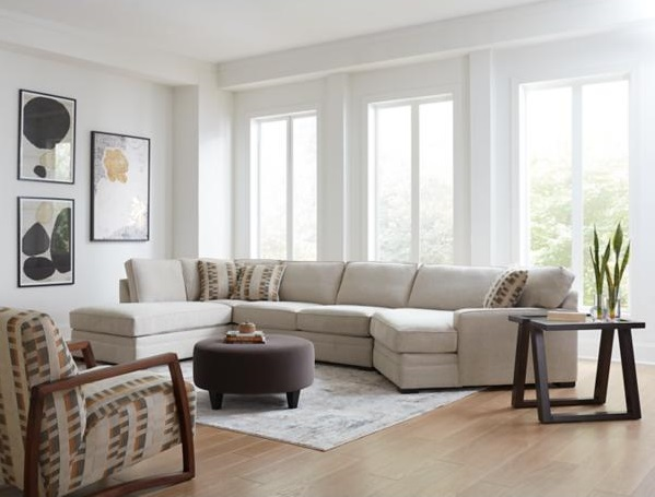 3-Piece White Sectional Sofa