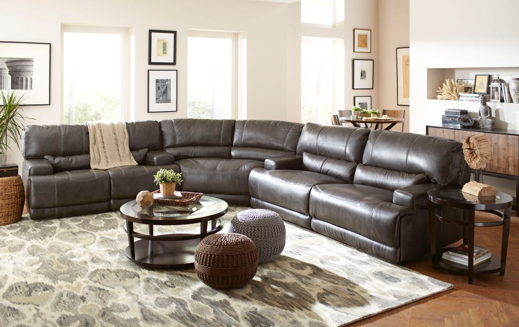 Stampede Brown Leather Sectional