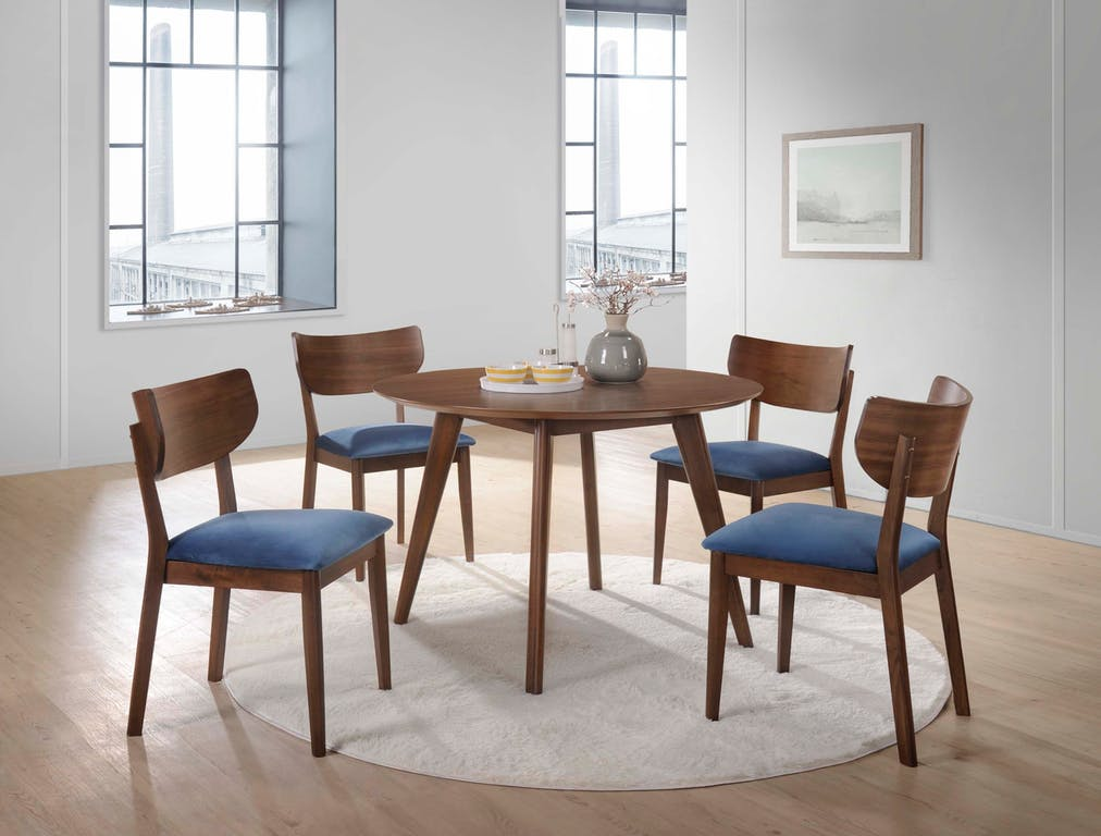Dining Table with Blue Velvet Chairs
