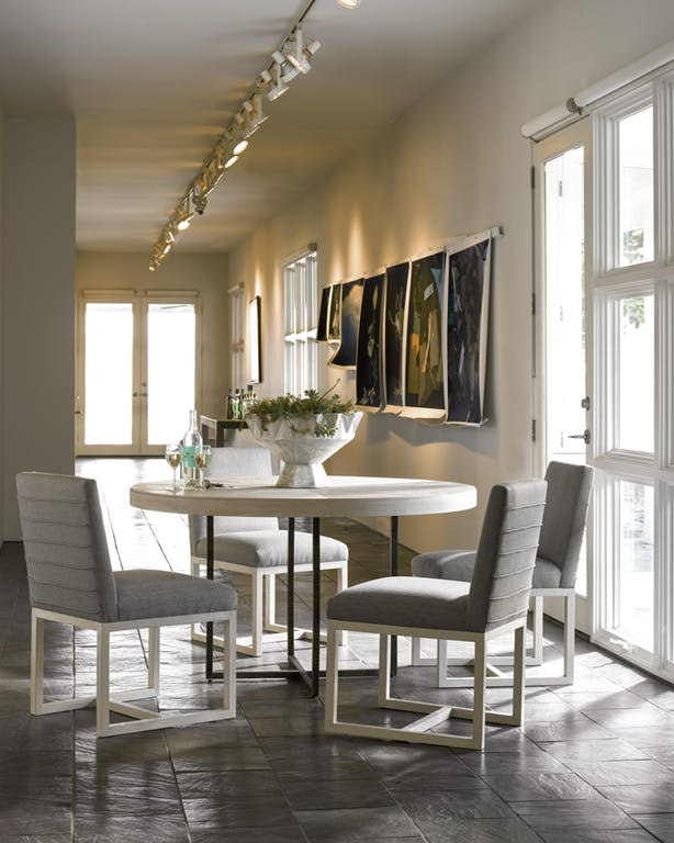 Modern-Quartz 5-Piece Round Dining Room Set