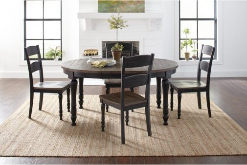 Ginger 5-Piece Round Black Dining Set