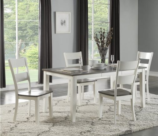 Madera White & Grey 5-Piece Leg Dining Set