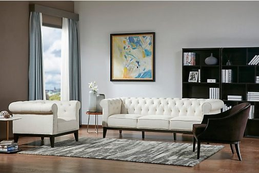 Drexler Transitional White Sofa