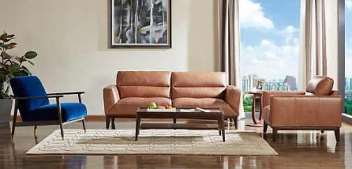 Jordan Leather Modern Sofa