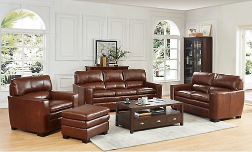 Leland Brown Leather Loveseat