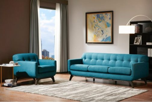 Malone Blue Transitional Sofa