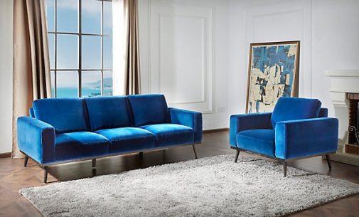 O'Neal Blue Velvet Sofa