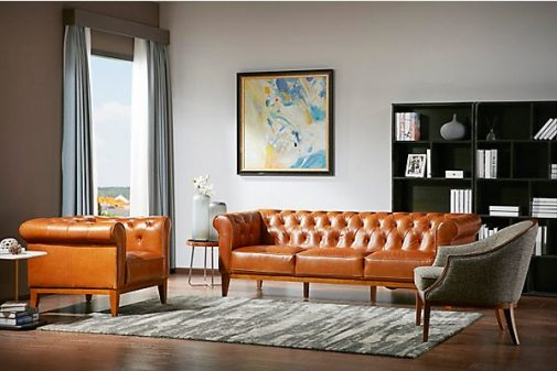 Stockton Orange Leather Sofa
