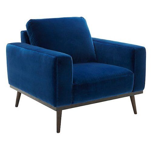 O'Neal Blue Velvet Accent Chair-