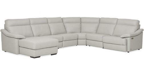 Urban Cement White Leather 6-Piece Power Reclining Chaise Sectional