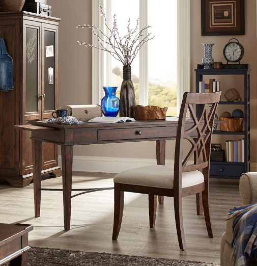 Distressed Wood Writing Desk with Upholstered Chair