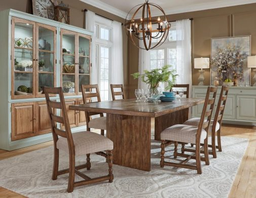 Wood Dining Table With Upholstered Chairs