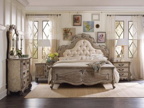 Traditional Upholstered Bed With Tufts