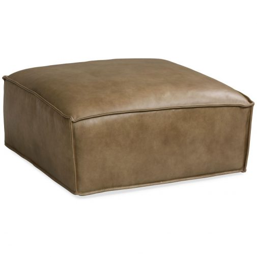 Brown Leather Cocktail Ottoman