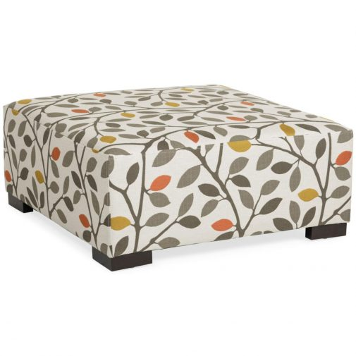 Square Cocktail Ottoman with Plant Pattern