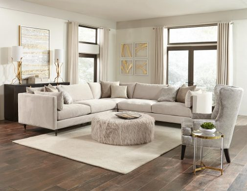 Shaggy White Cocktail Ottoman in front of White Sectional
