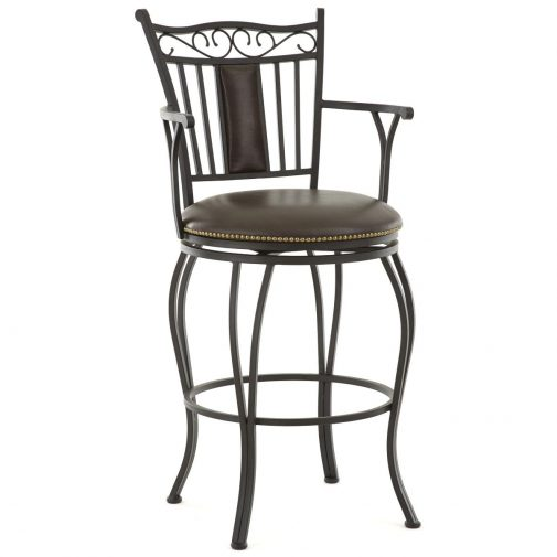 Brown Leather Barstool with Arms