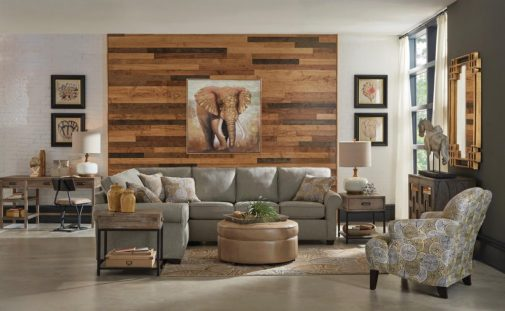 Living Room With Wood Accent Wall