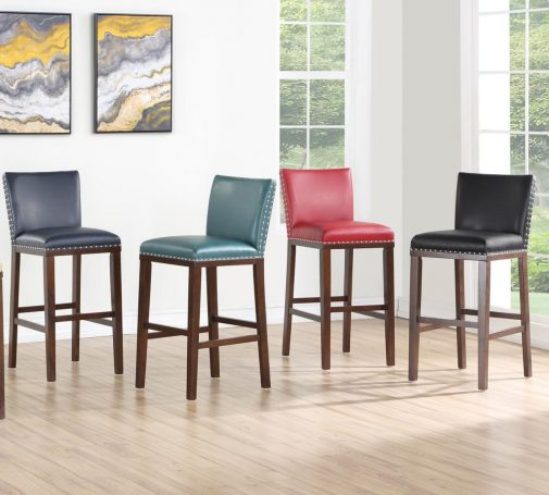 Colorful Bar Stools in Room with Wood Flooring