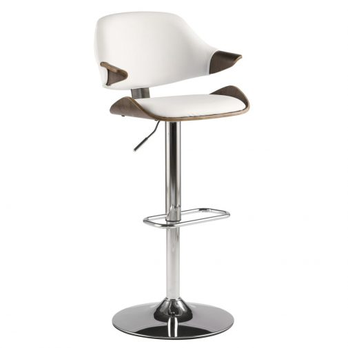 White Adjustable Barstool With Arms