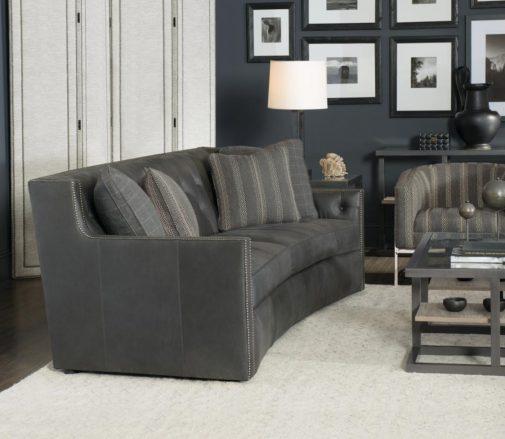 Modern Grey Leather Sofa