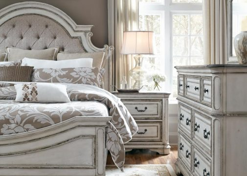 Upholstered Bed with White Faded Paint