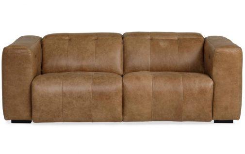 Modern 2-Seat Light Brown Leather Sofa