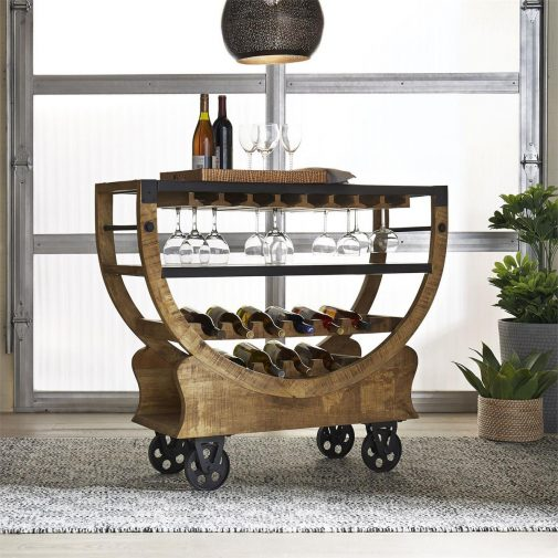 Distressed Wood Rolling Bar Cart