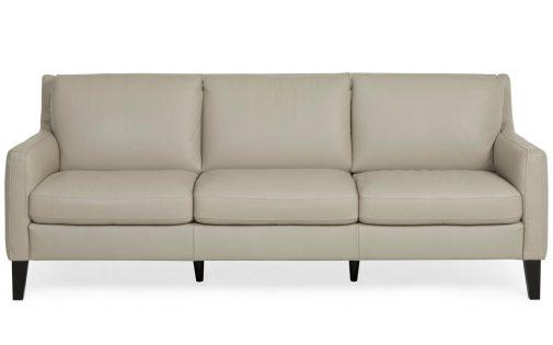 3-Seat White Leather Sofa