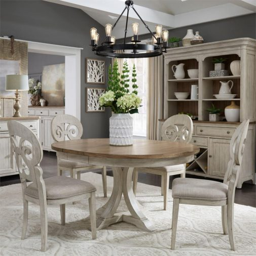 Wood top table with white chairs