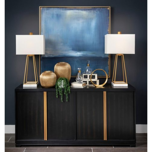 Entryway Table with Lamps and Painting