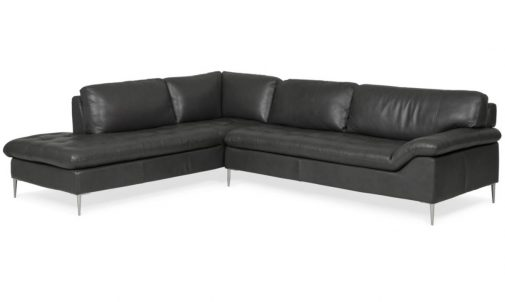 Black Leather Chaise Sectional