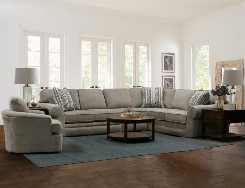L-Shaped Sectional Sofa with Living Room Rug