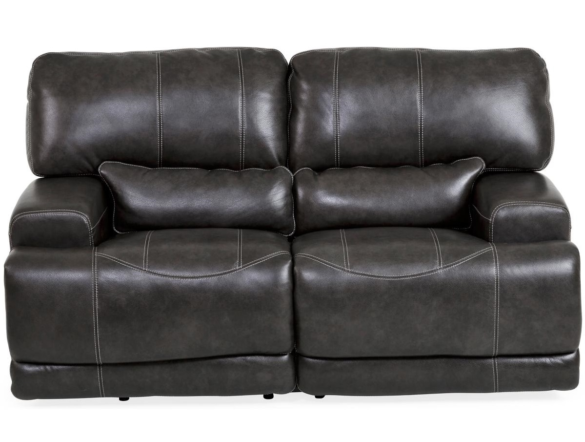 Dash Black Leather Reclining Loveseat