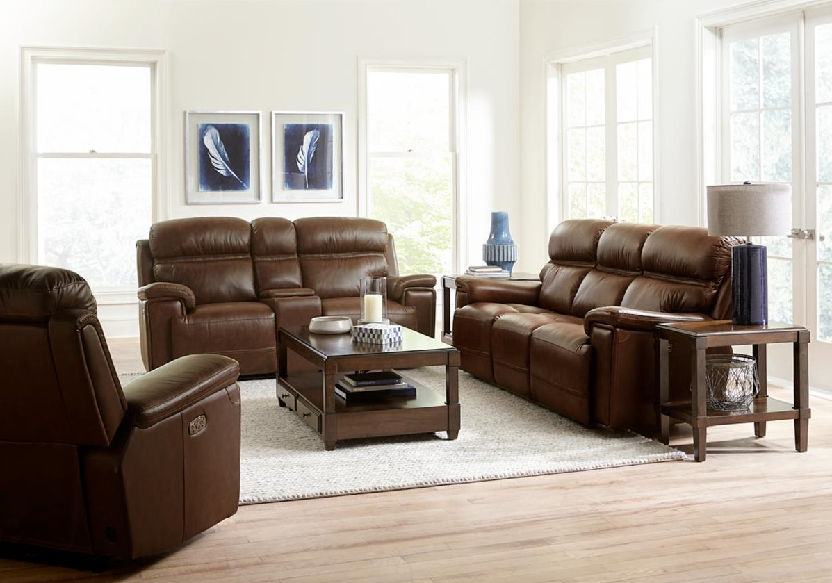 Fresno Brown Leather Power Reclining Loveseat in Living Room with Couch and Recliner