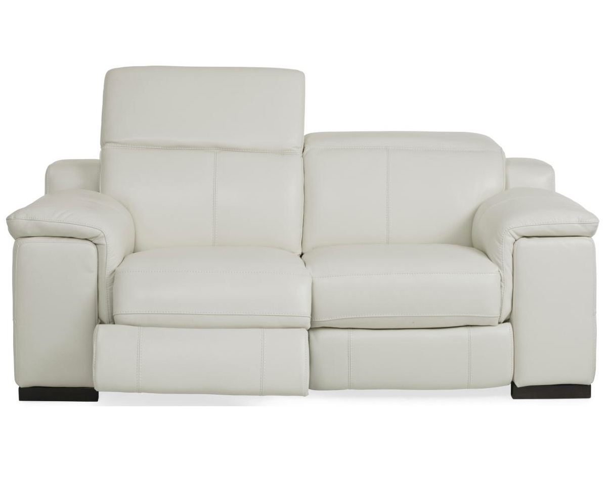 White Overstuffed Reclining Leather Loveseat
