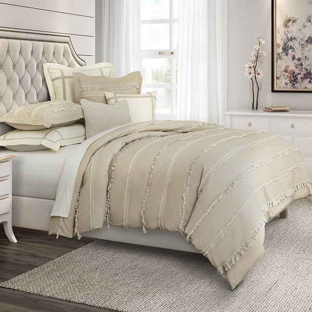 Upholstered Bed with Farmhouse Bedding
