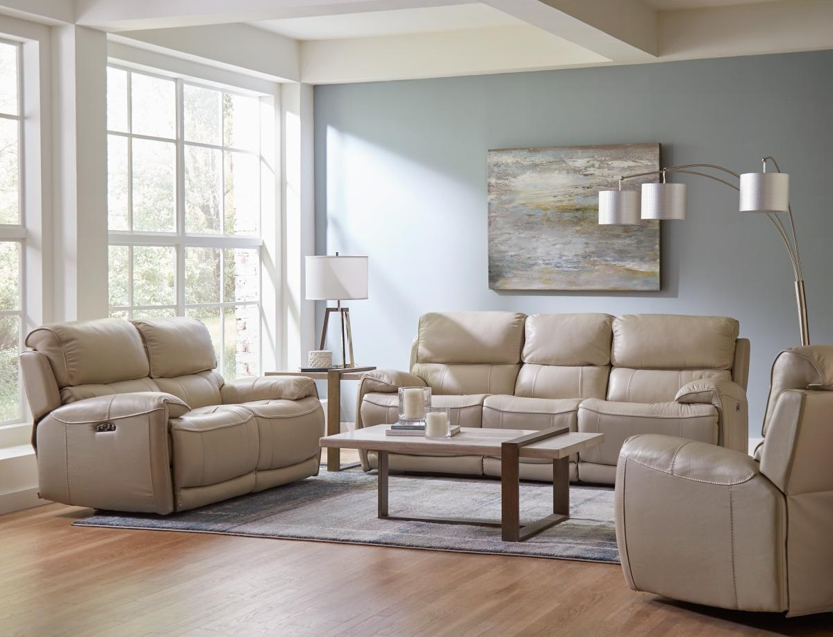 leather sofa in living room with accent wall