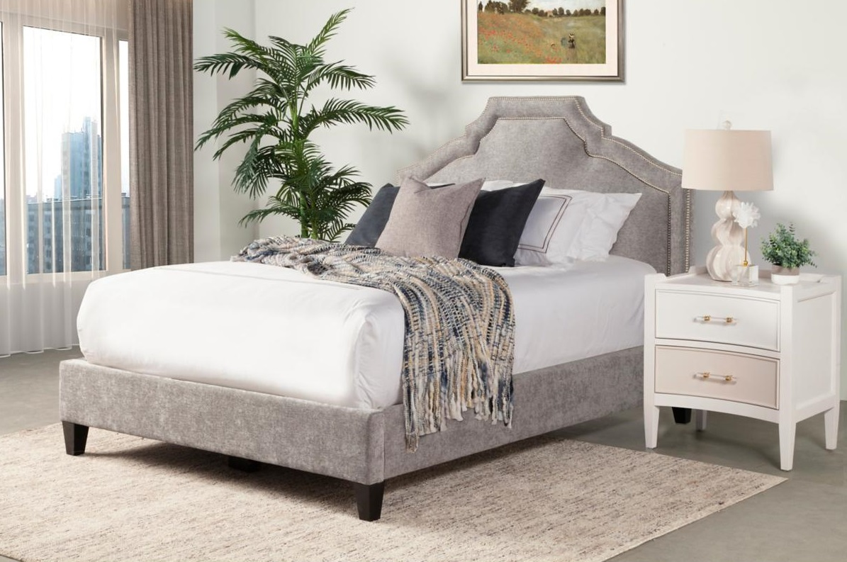 Cozy Upholstered Bed with Blanket