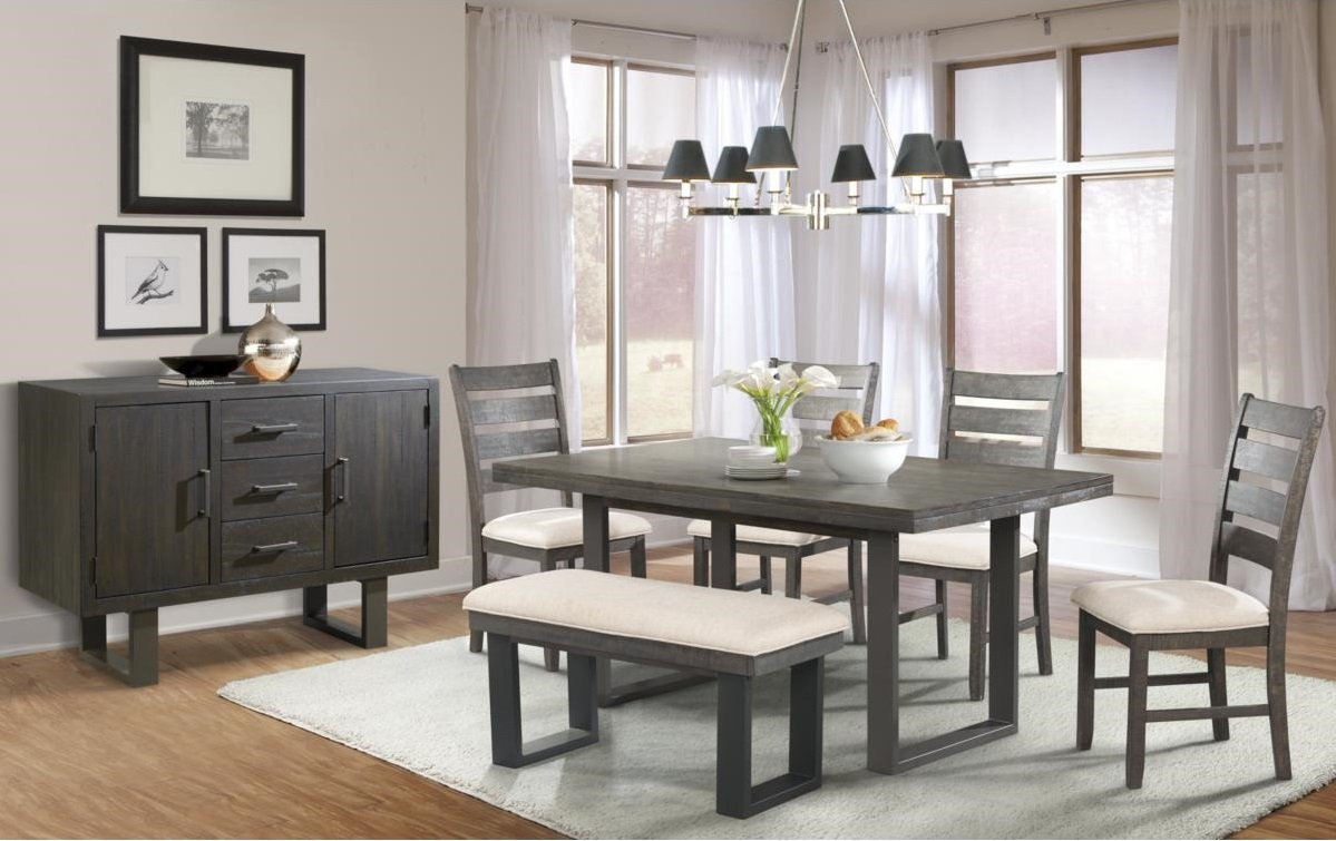 Dining Table with Upholstered Bench in Dining Room