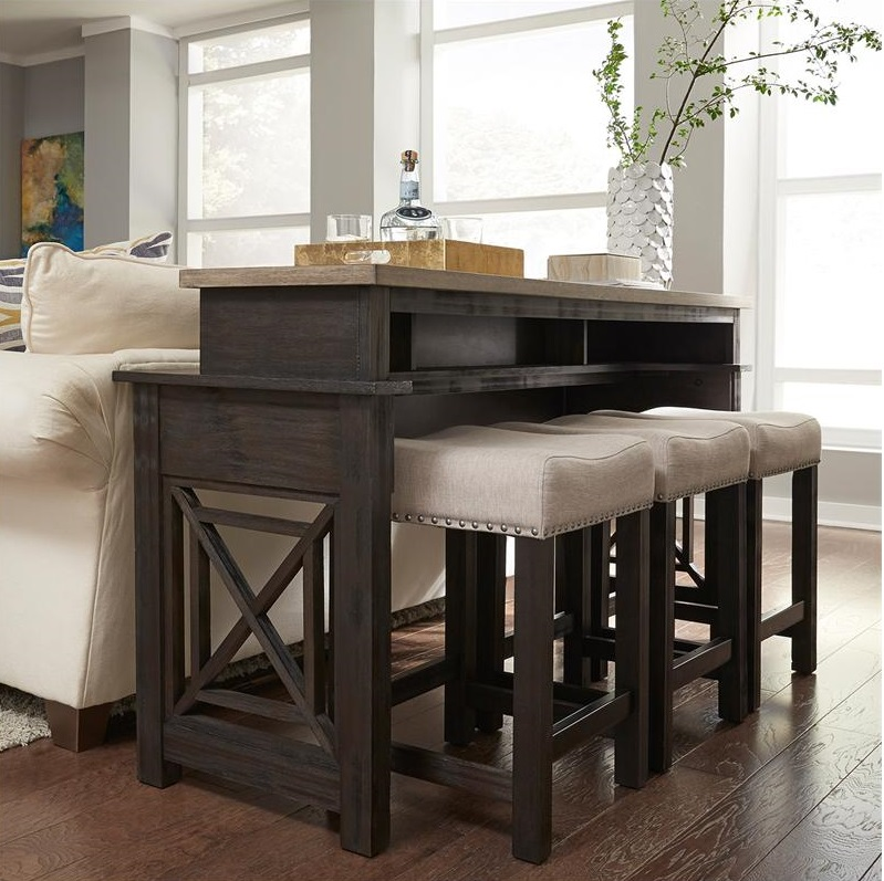 Hearne Console Table with Bar Stools