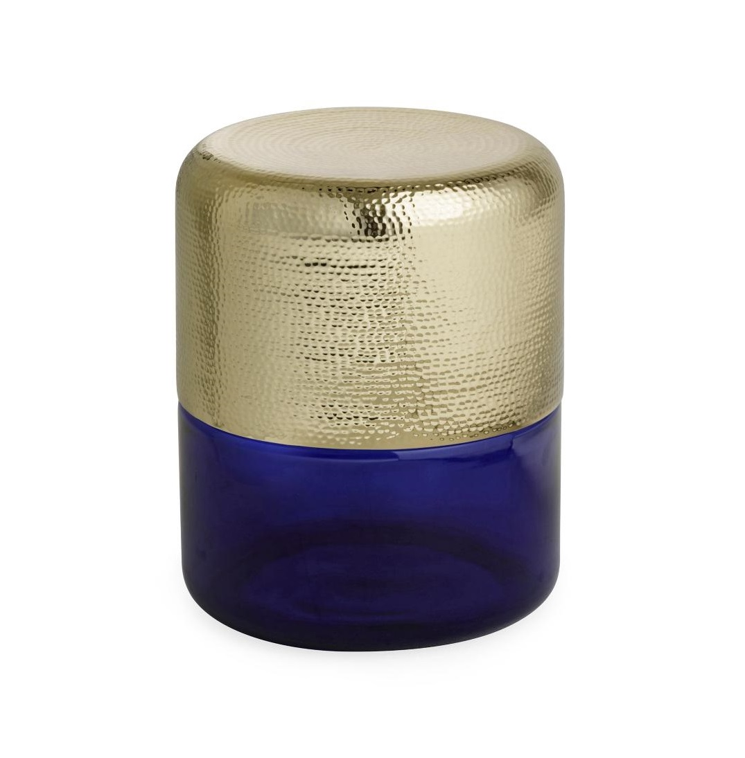 Bold Blue and Gold Accent Table