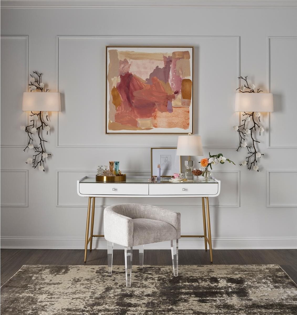 White Writing Desk with Storage in Front of Abstract Painting