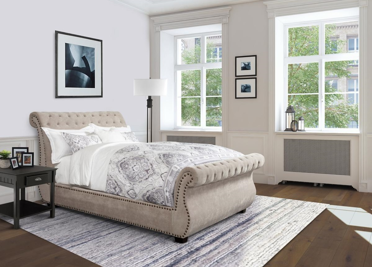 Claire Curved Bed Upholstered