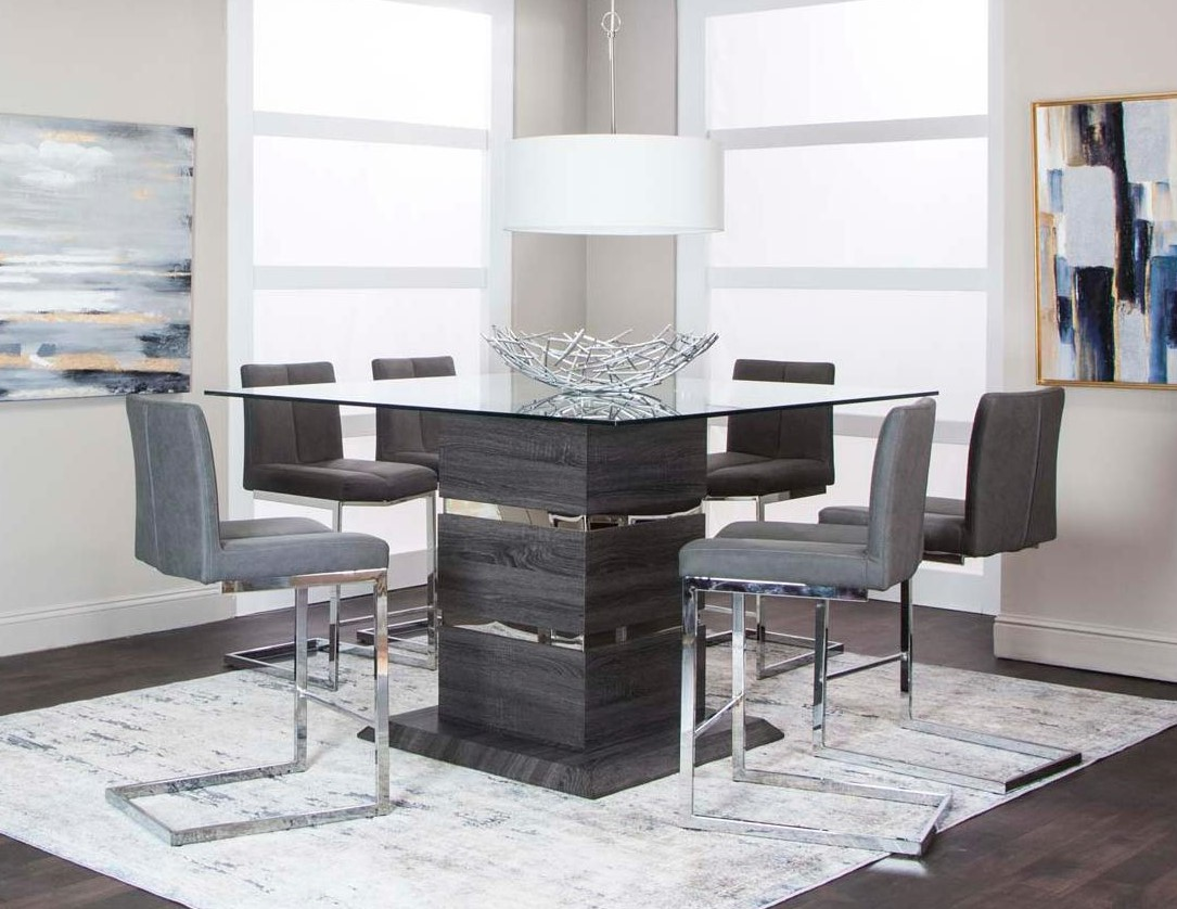 Gamma Modern Dining Set with Glass Top